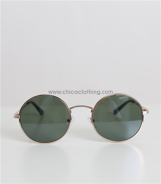 Στρόγγυλα γυαλιά ηλίου με χρυσό σκελετό και πράσινο φακό