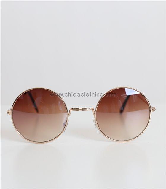 Στρόγγυλα γυαλιά ηλίου με μεταλλικό σκελετό (Καφέ)