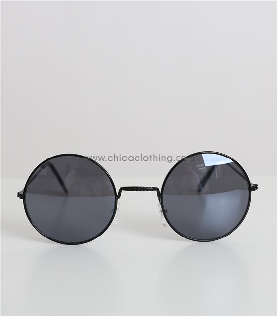 Στρόγγυλα γυαλιά ηλίου με μεταλλικό σκελετό (Μαύρο)