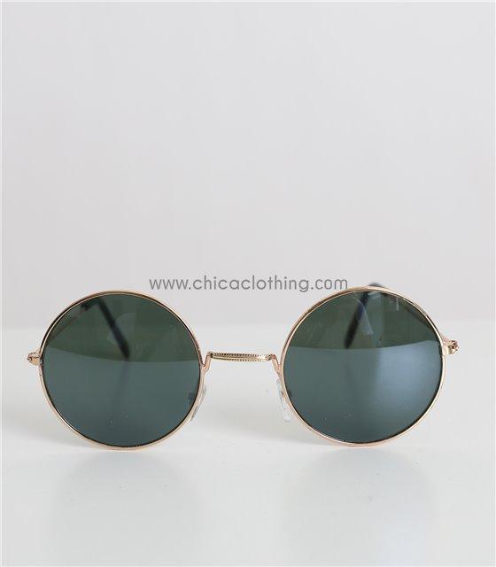 Στρόγγυλα γυαλιά ηλίου με μεταλλικό σκελετό (Πράσινο)