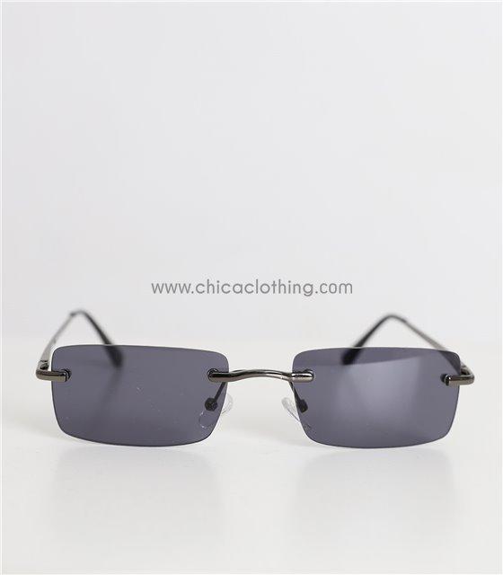 Γυαλιά ηλίου με μαύρο φακό και μεταλλικό σκελετό (Μαύρο)