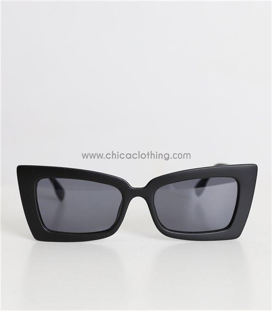 Γυαλιά ηλίου με ματ σκελετό και μαύρο φακό (Μαύρο)
