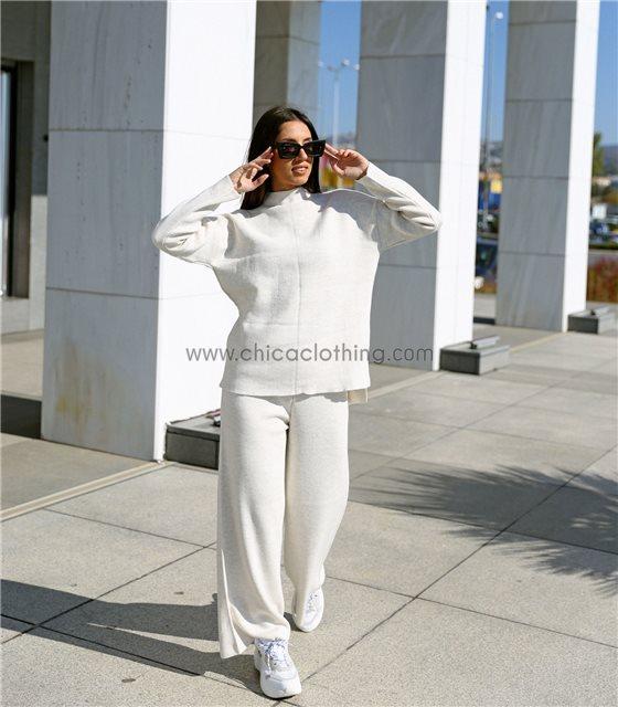 Σετ φαρδύ πλεκτό μπλούζα - παντελόνα (Μπεζ)