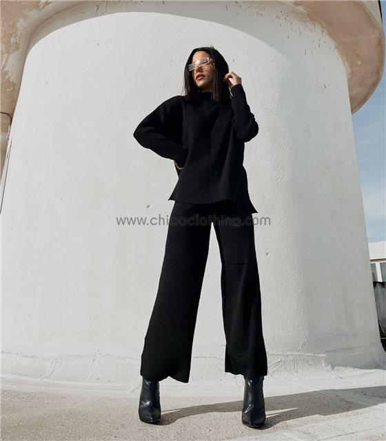 Σετ φαρδύ πλεκτό μπλούζα - παντελόνα (Μαύρο)