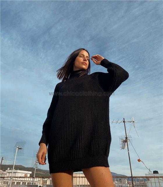 Φόρεμα πλεκτό ζιβάγκο φαρδύ (Μαύρο)