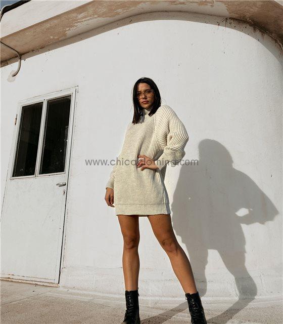 Φόρεμα πλεκτό ζιβάγκο φαρδύ (Μπεζ)