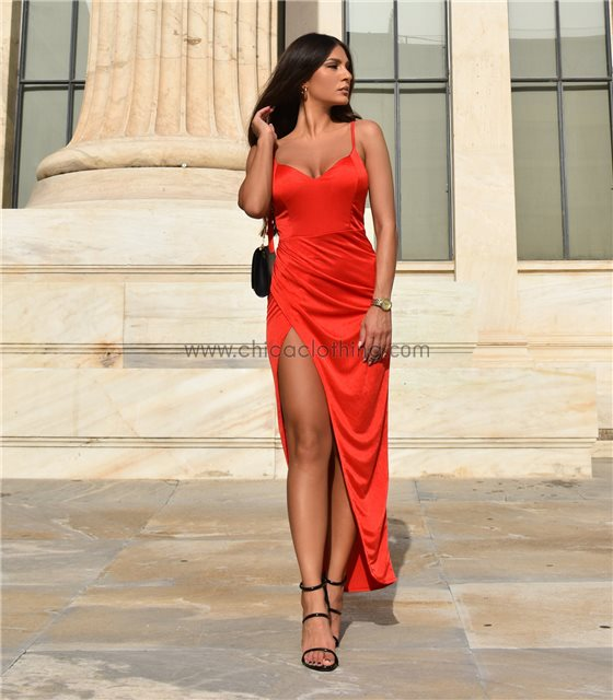 Φόρεμα μάξι τιράντα με επένδυση (Κόκκινο)