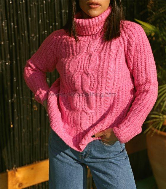 Πλεκτή μπλούζα ζιβάγκο μακρυμάνικη (Ροζ)