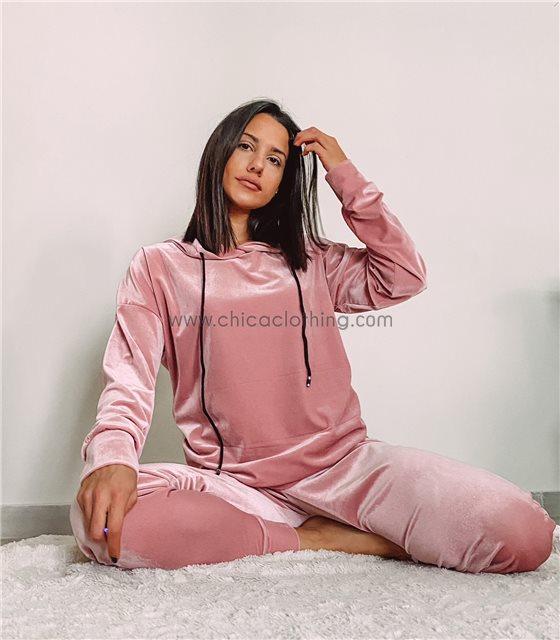 Σετ βελούδνο φόρμα - τοπ με κουκούλα (Ροζ)