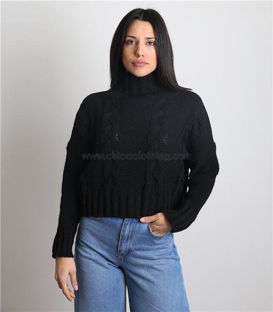 Πλεκτή μπλούζα ζιβάγκο με σχέδιο (Μαύρο)
