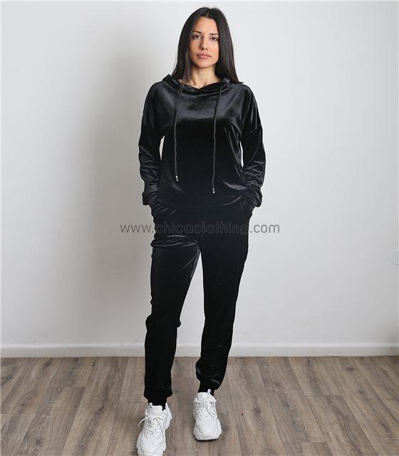 Σετ βελούδνο φόρμα - μπλούζα με κουκούλα (Μαύρο)
