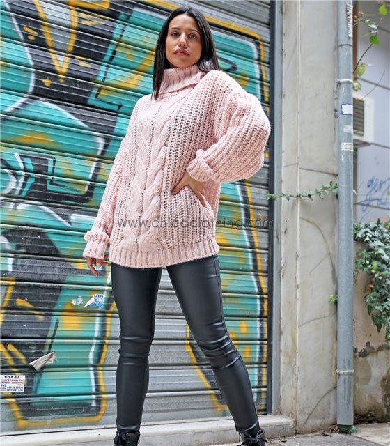 Πλεκτή μπλούζα ζιβάγκο με σχέδιο πλεξούδες (Ροζ)