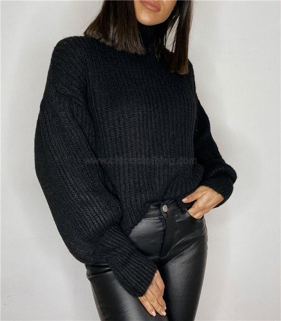 Μπλούζα πλεκτή ζιβάγκο με φουσκωτά μανίκια (Μαύρο)