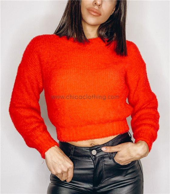 Πλεκτή μπλούζα κοντή (Κόκκινο)
