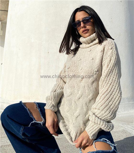 Πλεκτή μπλούζα ζιβάγκο με σχέδια (Μπεζ)
