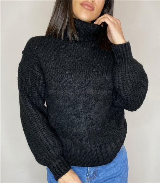 Πλεκτή μπλούζα ζιβάγκο με σχέδια (Μαύρο)