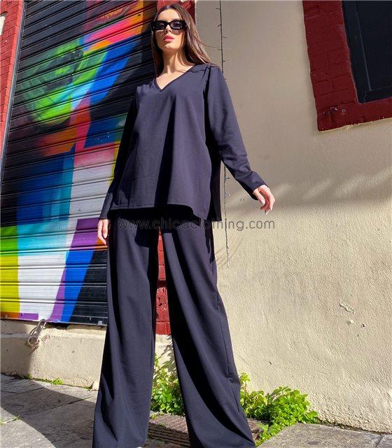 Σετ oversize μπλούζα βε με παντελόνα (Μαύρο)