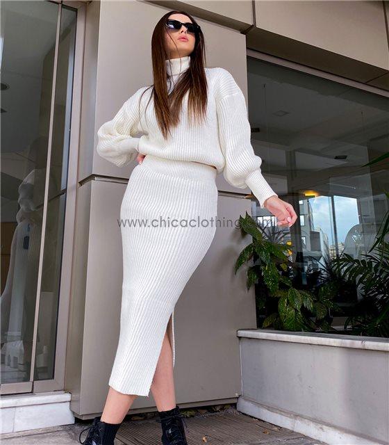 Σετ πλεκτό μπλούζα - φούστα με άνοιγμα (Λευκό)