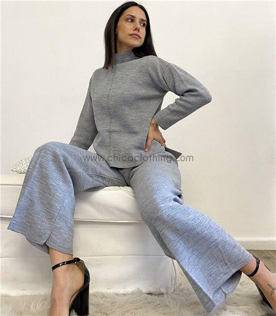 Σετ φαρδύ πλεκτό μπλούζα - παντελόνα (Γκρι ανοικτό)