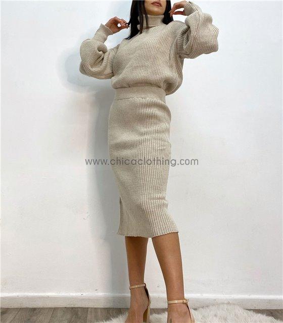 Σετ πλεκτό μπλούζα - φούστα με άνοιγμα (Μπεζ)