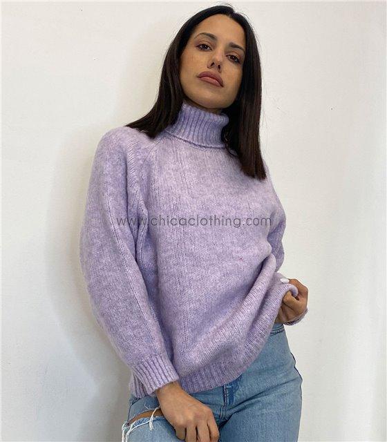 Μπλούζα πλεκτή ζιβάγκο ελαστική (Λιλά)