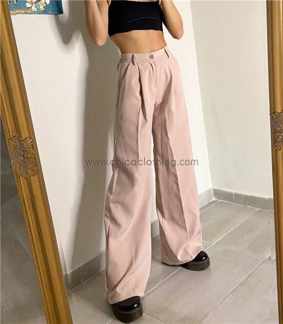 Ψηλόμεσο παντελόνι oversized (Ροζ)