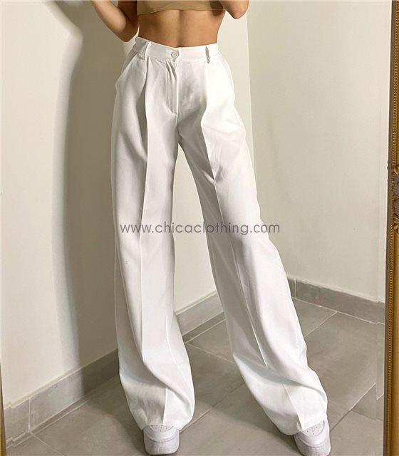 Ψηλόμεσο παντελόνι oversized (Λευκό)