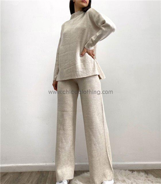 Σετ φαρδύ πλεκτό μπλούζα - παντελόνα (Εκρού)