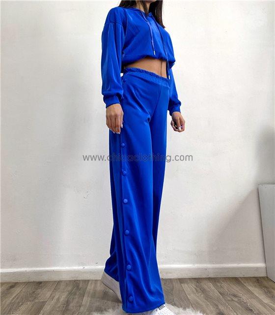 Σετ τοπ - παντελόνα με κουμπιά στο πλάι (Μπλε)