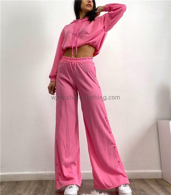 Σετ τοπ - παντελόνα με κουμπιά στο πλάι (Ροζ)