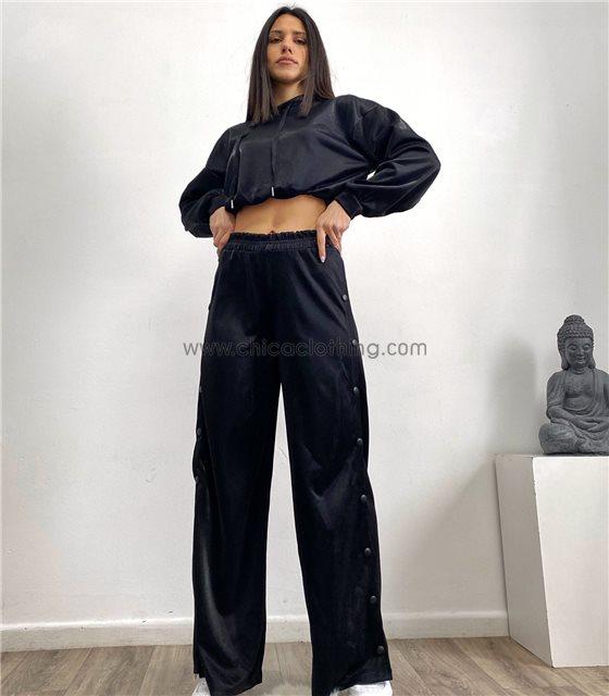Σετ τοπ - παντελόνα με κουμπιά στο πλάι (Μαύρο)