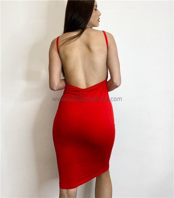 Ελαστικό φόρεμα midi με τιράντες (Κόκκινο)