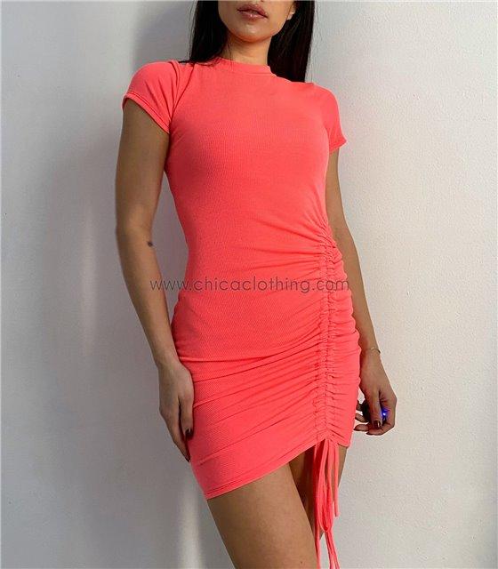 Φόρεμα πλεκτό με σούρα στο πλάι (Κοραλί)