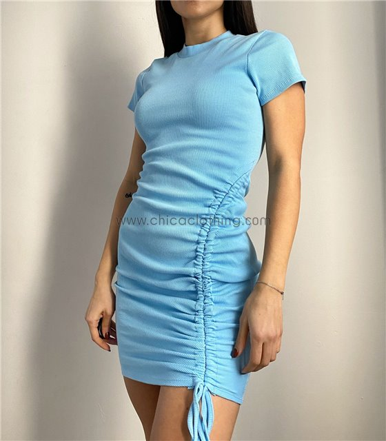 Φόρεμα πλεκτό με σούρα στο πλάι (Σιέλ)