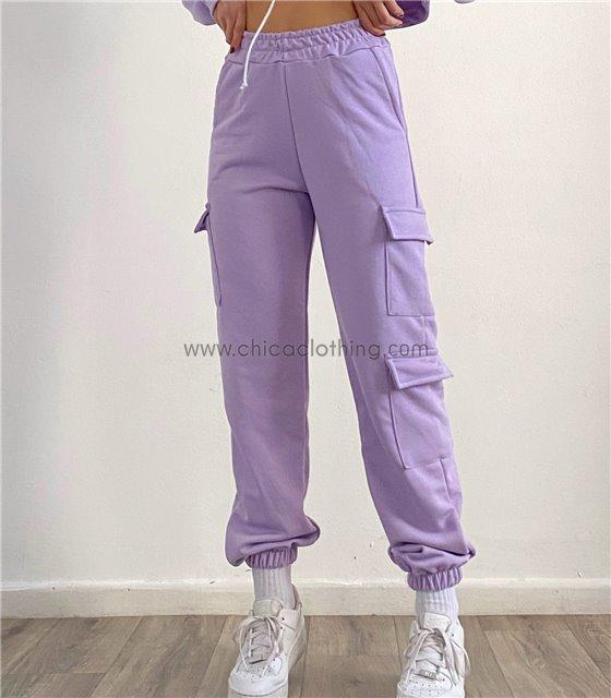 Παντελόνι φούτερ ψηλόμεσο με τσέπες στο πλάι (Λιλά)