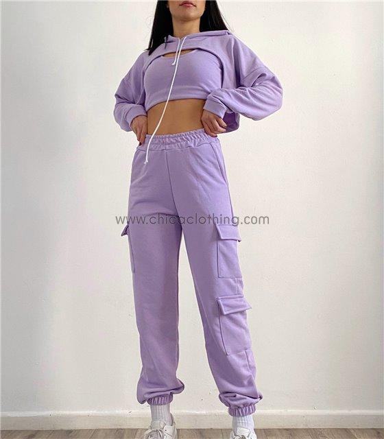 Σετ φούτερ τοπ - παντελόνι με τσέπες στο πλάι (Λιλά)