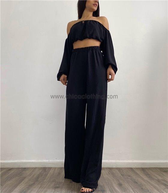 Σετ παντελόνα - τοπ bardot (Μαύρο)