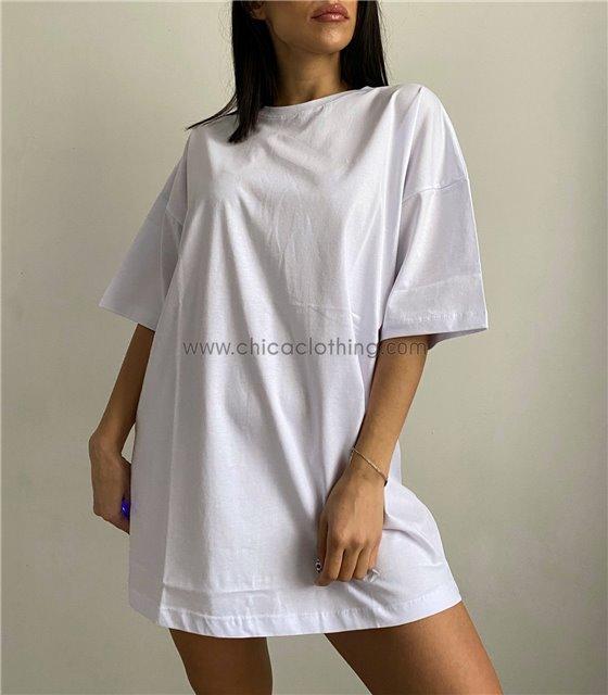 Φαρδιά μπλούζα κοντομάνικη (Λευκό)