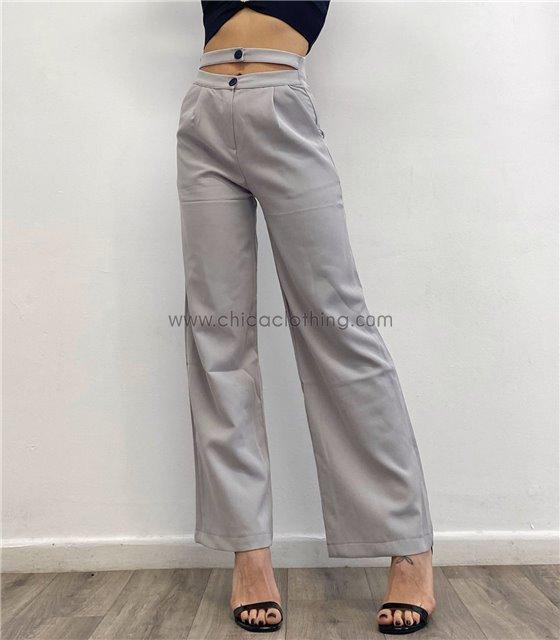 Ψηλόμεσο παντελόνι σταθερό με διπλό κούμπωμα (Γκρι)