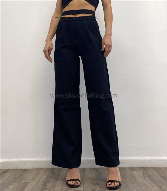 Ψηλόμεσο παντελόνι σταθερό με διπλό κούμπωμα (Μαύρο)