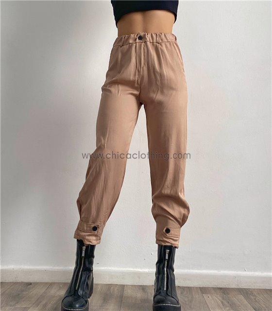Ψηλόμεσο παντελόνι με λάστιχο και κουμπιά (Μπεζ)