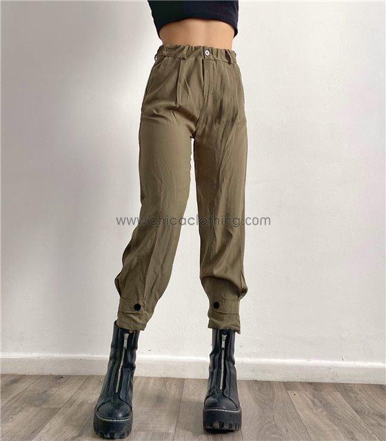 Ψηλόμεσο παντελόνι με λάστιχο και κουμπιά (Χακί)