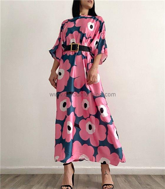Μάξι φόρεμα φλοράλ με μανίκια 3/4 (Ροζ)