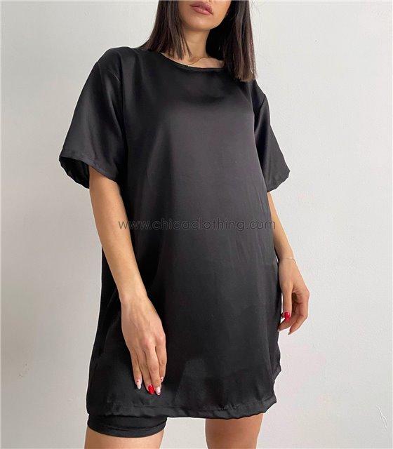 Μπλούζα σατέν κοντομάνικη (Μαύρο)