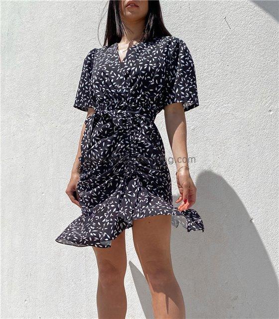Φόρεμα σατέν κρουαζέ με σούρα στο πλάι (Μαύρο)