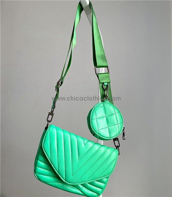 Δερματίνη τσάντα ώμου με τσαντάκι (Πράσινο)
