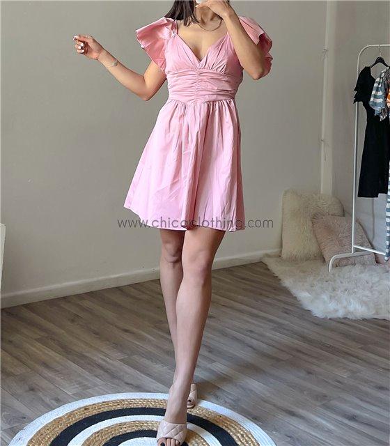 Φόρεμα μίνι με βολάν μανίκια (Μαύρο)