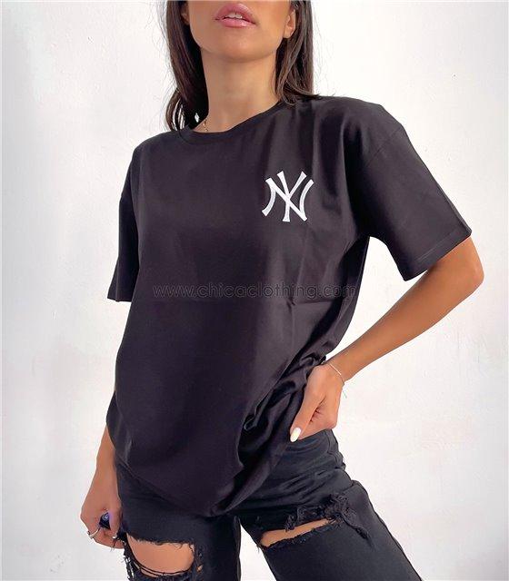 Κοντομάνικη μπλούζα ''NY'' (Μαύρο)
