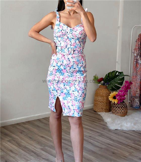 Φόρεμα φλοράλ με επένδυση (Σιέλ-Ροζ)