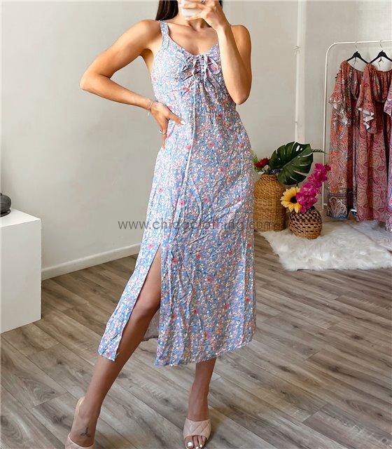 Φόρεμα φλοράλ midi με δέσιμο στο στήθος (Σιέλ)